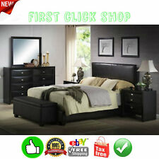 Queen Size Bed Frame Upholstered Faux Leather Headboard Footboard & Rails Black