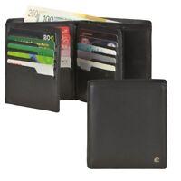 Esquire Geldbörse Leder schwarz groß mit 25 Kartenfächern