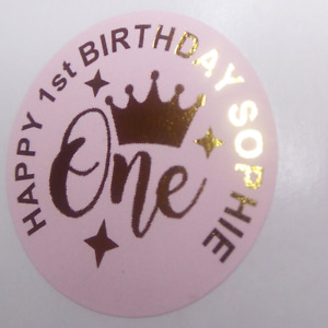 24 Personalised GOLD OR ROSE GOLD FOIL Party Bag Stickers 1st Birthday 40mm
