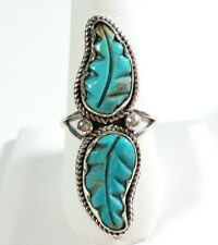NAVAJO ROBIN WOOD STERLING SILVER DOUBLE CARVED FEATHER TURQUOISE SIZE 9 RING