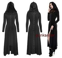 Punk Rave Dark Arts Women fashion Dress Long Black Hooded Gothic Witch Cloak Q29
