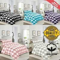 Soft Decent Cotton Check Duvet cover Quilt Bedding Set Pillowcases Hotel Quality