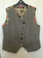 Joe Browns Tweed and Silk Waistcoat Jacket Sz 18 Quirky Floral