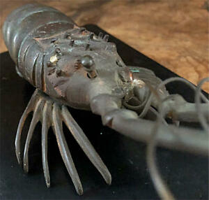 MEIJI Era ISE Lobster Shrimp Bronze Statue 7.4 inch Japanese Antique Metal Art