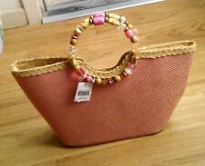 Cappelli Straworld Coral Beads Tote Hand Bag NWT