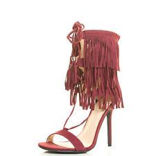Women 3 Fringe Layer Cuff Pump Sandal Shoe Open Toe Stiletto Heel Tassel Lace Up