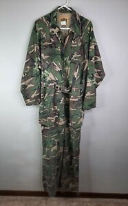 Vtg IDEALCamouflage Hunting Coveralls Jumpsuit Mens Large Frog Canvas USA