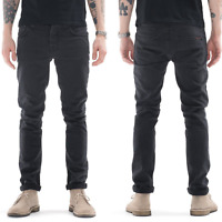 Nudie Herren Slim Fit Stretch Jeans Hose | Grim Tim Misty Ridge | Schwarz / Grau