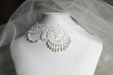 White Lace Choker Cosplay Wedding Vintage Pearl Chain Punk Necklace Collar