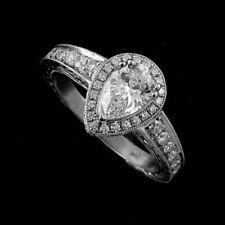 Pear Shape Forever One Moissanite Halo Diamonds Platinum Engagement Ring