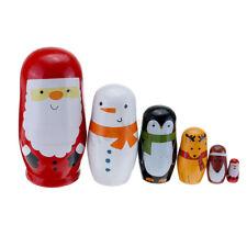 6pcs Wooden Russian Nesting Christmas Santa Claus Matryoshka Stacking Dolls Set