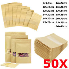 50X Kraft Paper Bag Seal Packaging Stand Up Window Zip Bag Candy Food Pouch