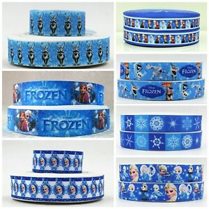"Frozen Elsa Olaf Grosgrain Printed Character Ribbon 25mm (1"") Cake Hair Birthday"