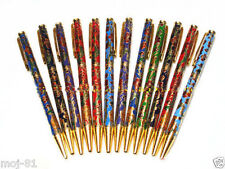 WHOLESALE 10PCS TRADITIONAL CHINESE HANDMADE CLOISONNE FLOWER PATTERN BALL PENS