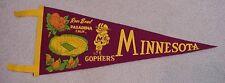 1961 Minnesota Gophers Rose Bowl Soft Felt Pennant Original Unsold Concessions