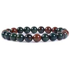 "Natural Shops Green Bloodstone Heliotrope Gemstone 8mm Round Beads Stretch 7"""