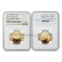 Great Britain 1999 Rugby World Cup 2 Pounds Gold NGC PF69 Ultra Cameo