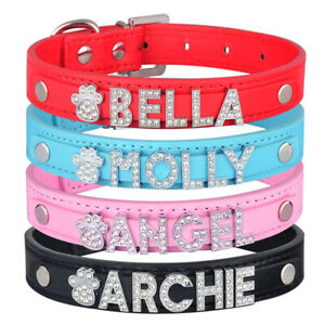 Personalised Leather Girl Dog Puppy Collar Diamante Name Bling Charms Cat kitten
