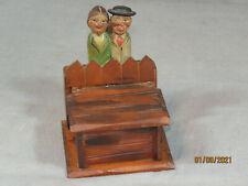 Vintage Anri Italy Match Holder ~ Trinket Box w/Kissing Couple