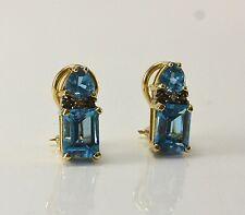 Ohrringe mit Blau-Topas - 14 Karat Gelbgold