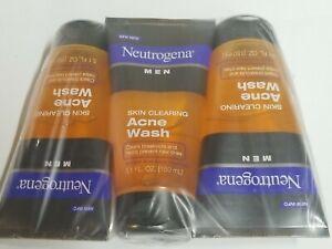 3 Neutrogena Men Skin Clearing Salicylic Acid Acne Face Wash, 5.1 fl. oz