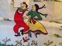 Vintage Tea Towel Folk Square Dance, Hoe Down, Farm Couple Fidel Player Linen