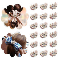 10PCS Flower Rhinestone Buttons Flatback Plating Pearl Hairpin Sewing DIY CY gv