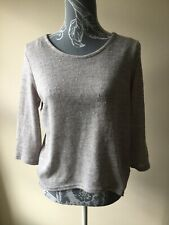 New Look Womens Jumper Size 10 Light Grey 3/4 Sleeved Polyester Scoop Neck