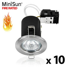 MiniSun Fire Rated Recessed Gu10 Ceiling Downlight Spotlights LED Bulbs Lighting Brushed Chrome 10 No