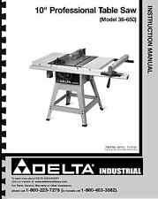 """Delta 10"""" Table Saw Instruction Manual for Model No. 36-650"""
