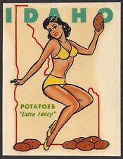 "VINTAGE ORIGINAL 1948 ""MISS IDAHO"" STATE SEXY PINUP GAL TRAVEL WATER DECAL ART"