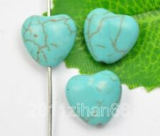 50 pcs Turquoise Heart charms Loose beads 12mm bead