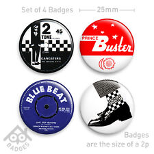 SKA 2 Tone Prince Buster Blue Beat MOD Skinhead Badge - Set of 4 x 25mm Badges