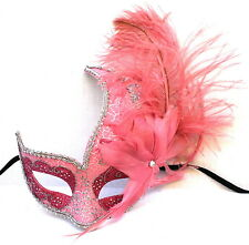 Venetian Masquerade Costume Ball Prom Party Wedding Pink Swan Mask Fr Woman Girl