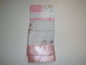 NWT Aden + Anais Pink & And White Satin Birds On A Wire Baby Security Blankets
