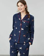 Joules Womens Cait Button Through Long Sleeve Classic PJ Top - XMAS DOGS Size 10