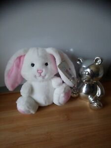 Peluche doudou lapin blanc rose Gipsy neuf