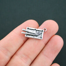 2 Pool Table Charms Antique Silver Tone Billiards - SC4832