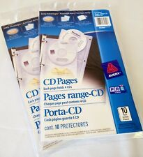 Lot of 2 CD Binder Pages Storage 4 Per Page 10 Pages 40 Per Pack AVERY 75300