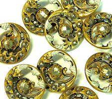 10 Antique/Vintage Art Nouveau Cut Steel Brass Suit Dress Sewing Craft Buttons