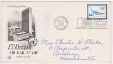 (K81-7) 1963 UN FDC 13c regular Air mail stamp used (G)