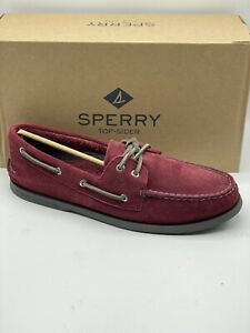 SPERRY TOP-SIDER MEN'S A/O 2-EYE SUEDE BURGUNDY BOAT SHOES (SIZE 11)
