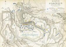 Bataille de Jemappes français Guerres révolutionnaires Johnston militaire Carte 1848 Imprimer