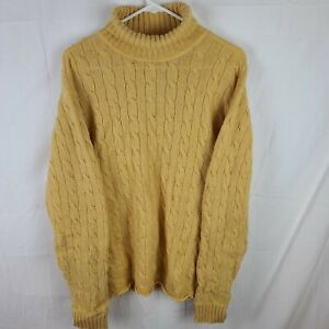 Ralph Lauren Polo Jeans Co. Turtle Neck Sweater Cable Knit Long Sleeve Yellow XL