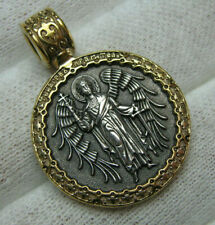 925 Sterling Silver ANGEL GUARDIAN Wings Cross Pendant Medalion Medal Patron 871