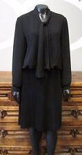 BROWNSTONE STUDIO Black Neck Tie Pleated Blouson Dress - 6P