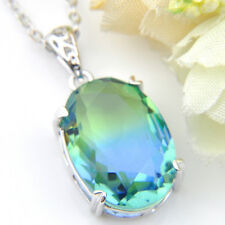 Lovely Oval Blue Green Woman Bi Colored Tourmaline Gem Silver Necklace Pendant