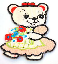 TEDDY BEAR GIRL & FLOWERS  Embroidered Iron Sew On Cloth Patch Badge  APPLIQUE