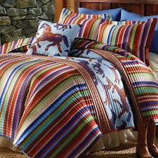 3 PC Southwestern Wild Free Horses Quilt with Shams Full Queen Size Bedding
