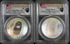 2019-P $1 .999 Silver Apollo 11 50th Anniversary PCGS PR70DCAM & MS70 2 Coin Set